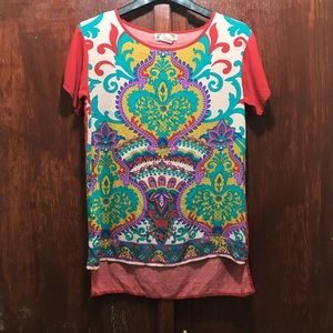Flying Tomato Paisley Top Shirt Blouse Red Small